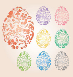 Floral easter eggs with gradient - decorative vector