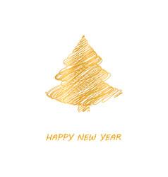 gold fir-tree christmas vector image