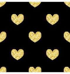 Golden glitter hearts sparkles seamless pattern vector