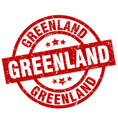 Greenland red round grunge stamp vector
