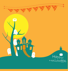 Halloween castle with ghosts vector