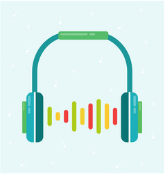 headphones flat colorful with sound wave vector image vector image
