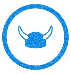 Horned Helmet Rounded Icon Rubber Stamp vector image vector image