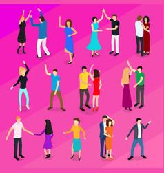 isometric dancing people characters icon set vector image