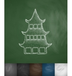 Japanese house icon vector