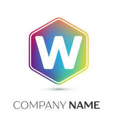 Letter w logo symbol in the colorful hexagonal on vector