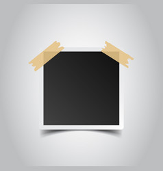 Photo frame with adhesive tape on gray background vector