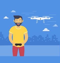 Quadrocopter launching fun of youn vector