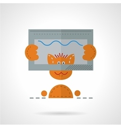 Red cat taking selfie flat icon vector
