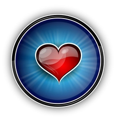 red heart on the blue background vector image vector image