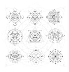 sacred geometry signs set of symbols and elements vector image vector image
