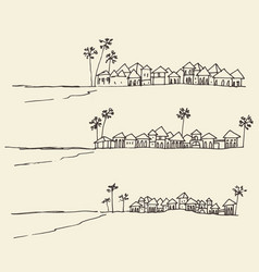set sketches seaside view beach sketch vector image vector image
