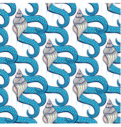 Shells seamless pattern with octopus tentacles vector