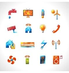 Smart House Polygonal Icons vector image