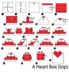 Step instructions how to make origami a heart box vector