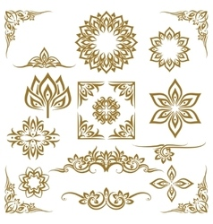 Thai ethnic decorative elements vector