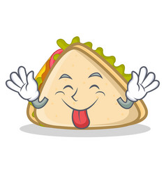 Tongue out sandwich character cartoon style vector