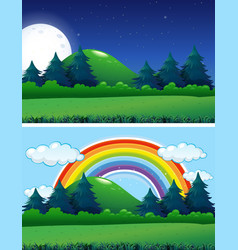 two forest scenes night and day vector image
