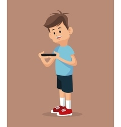 Young gamer standing with smartphone vector