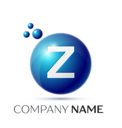 Z letter splash logo blue dots and circle bubble vector