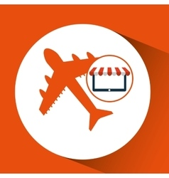 E-commerce virtual shop travel airplane icon vector