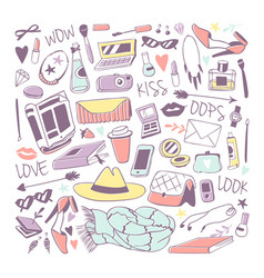 girls fashion icons stickers vector image