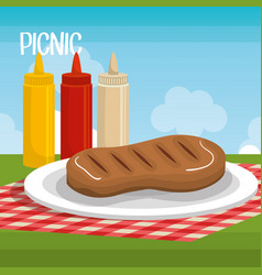 Delicious picnic scene icons vector