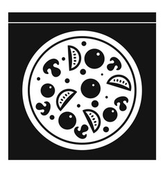 Pizza with salami mushrooms tomatoes icon vector