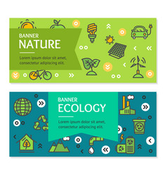 Ecology flyer banner posters card set vector