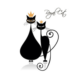Royal black cats design vector