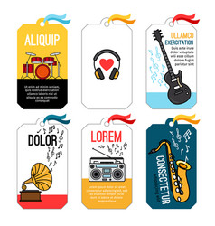 Music tags or musical labels or banners with vector