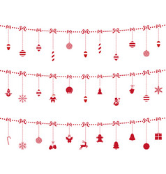 Christmas red elements ornaments hanging on rope vector