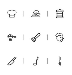 Set of 9 editable cooking outline icons includes vector