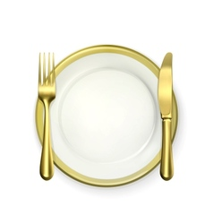 Gold dinner place setting vector