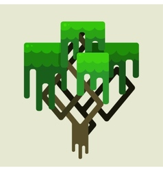 Stylized geometric design of green trees vector