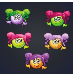 Set of smilies girls with different emotions for vector