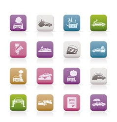 Car and transportation insurance and risk icons vector