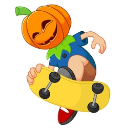Kid playing skateboard wearing hallowen mask vector