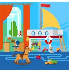 Childrens room with toys vector