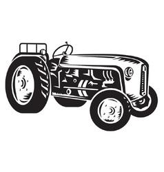 vintage tractor vector image