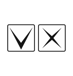 Tick and cross icon simple style vector