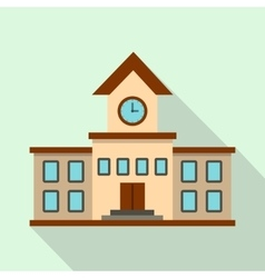 School building icon flat style vector