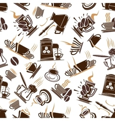 Coffee cups and espresso machine seamless pattern vector