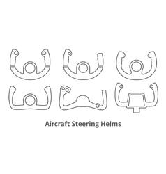 Aircraft control wheels icons set vector