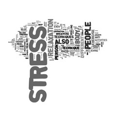 a healthy approach to stress text word cloud vector image