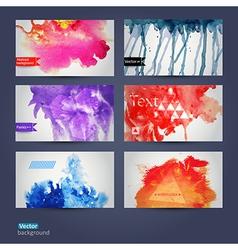 abstract hand drawn set of six watercolor vector image vector image