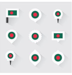 Bangladesh flag and pins for infographic and map vector