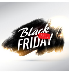 Black friday sale poster design with brush paint vector