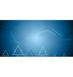 Blue Christmas background with fir trees vector image vector image