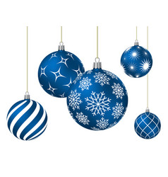 blue christmas balls with different patterns vector image vector image